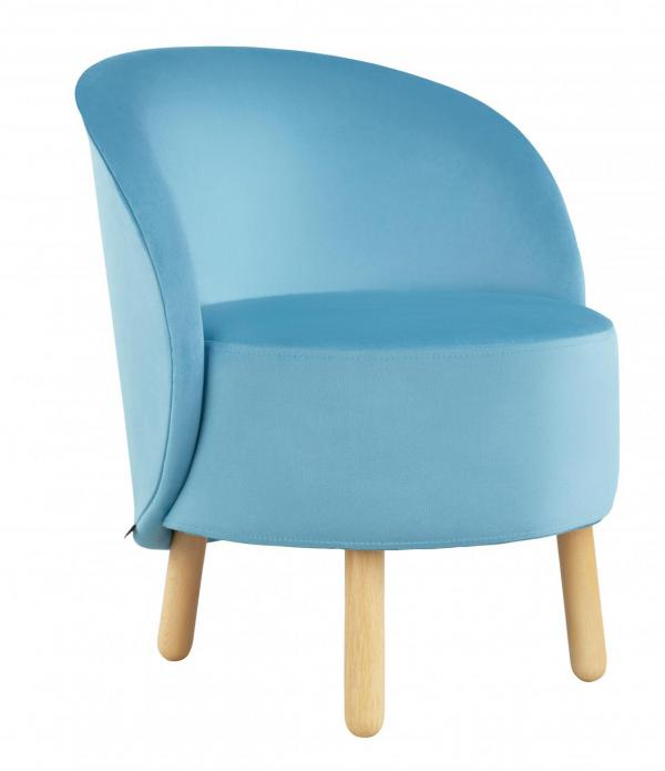 armchair made of velvet light blue