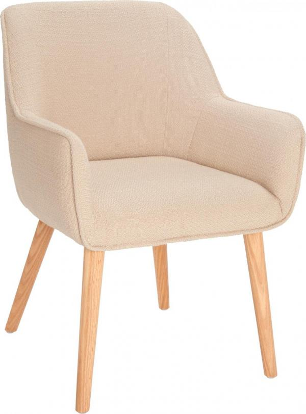 Chair With Beige Fabric Cover And Oak Legs